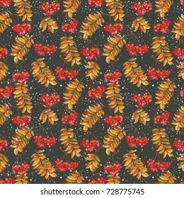 Seamless pattern with atumn rowan leaves and berries Vector Illustration EPS8