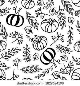 Seamless pattern with autumn elements. Linear black and doodle sketch. Pumpkin, leaf, berries, twig, lettering. Hand drawn fall design for wallpaper, wrapping, textile. Autumn nature illustration