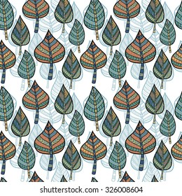 Seamless pattern with autumn ethnic style  leaves.