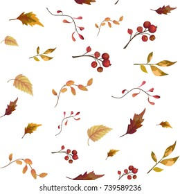 Seamless pattern of Autumn fall leaves, berries foliage natural branches, colorful herbs, hand drawn in watercolor. Vector beauty elegant background, texture, print, textile fabric, wallpaper on white