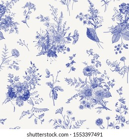 Seamless pattern. Autumn floral pattern. Classic illustration. Toile de Jouy