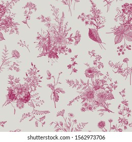 Seamless pattern. Autumn floral pattern. Classic illustration in wine and white. Toile de Jouy