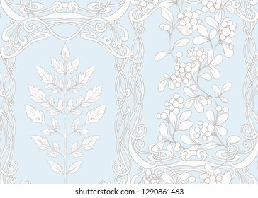 Seamless pattern with autumn leaves and berries In art nouveau style, vintage, old, retro style. Vector illustration In vintage blue and beige colors.