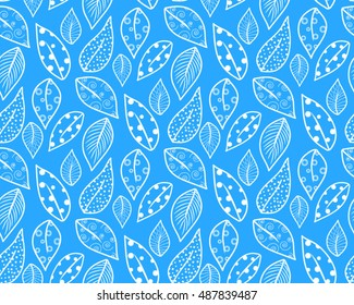 Seamless pattern of autumn leaves blue white