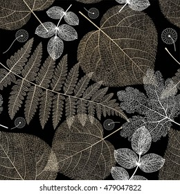 Seamless pattern with autumn leaves, colorful leaf on dark background texture. Vector illustration.