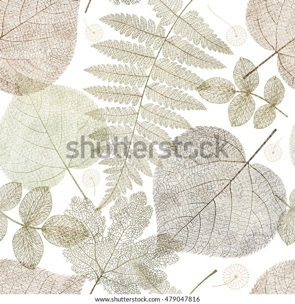 Seamless pattern with autumn leaves, colorful gold leaf background texture. Vector illustration.