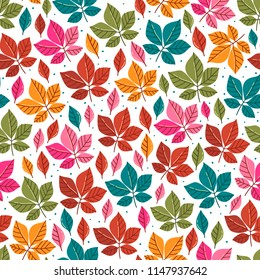 Seamless pattern with autumn leaves. Fall background. Vector wallpaper.