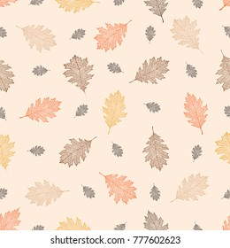 Seamless pattern of autumn leaves of northern red oak (Quercus rubra)