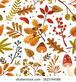 Seamless pattern with autumn leaves and tree branches. Repeatable background with fall mushrooms, chestnut, berries, acorn and foliage. Flat vector illustration of beautiful aspen, and oak leaf