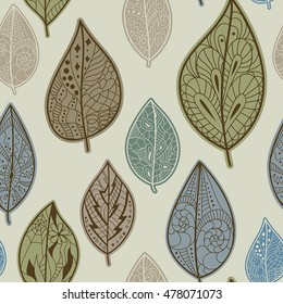 Seamless pattern with autumn leaves. Use for wallpaper, pattern fills, web page background.