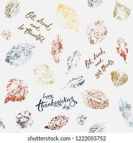 Seamless pattern with autumn leaves.Vector background with leaves and hand written lettering. Suitable for wrapping paper, textile or book covers, wallpapers, design, graphic art, printing, EPS 8