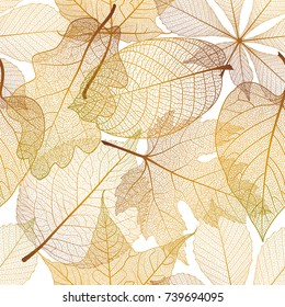 Seamless pattern with autumn leaves.Vector illustration.