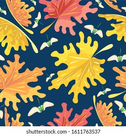 Seamless pattern with autumn, maple leaves, surface design for textile, fabric, wallpaper, wrapping, gift wrap, paper, scrapbook and packaging.