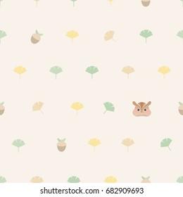 Seamless pattern autumn theme.Ginkgo leaf,acorn and squirrel.