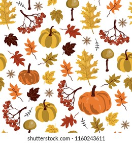 Seamless pattern. Autumn yellow leaves and pumpkin with berries