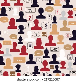 Seamless pattern of avatars and speech bubbles with various symbols
