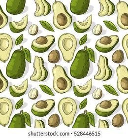 Seamless pattern with avocado
