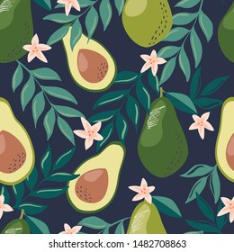 Seamless pattern with avocado fruits, leaves and branches for fabric, textiles, product and stationery design