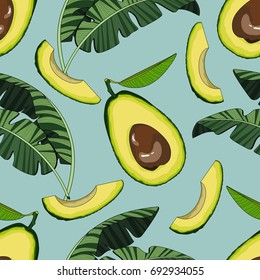 Seamless pattern with avocado and tropical leaves. Vector illustration.