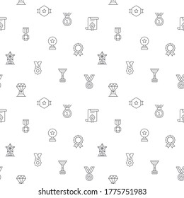 Seamless pattern with awards and prizes icon on white background. Included the icons as winner, cups, medals, badges, trophy, best, top and other elements.