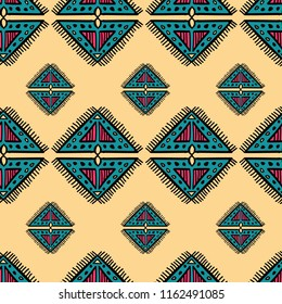 Seamless pattern with aztec diamond tribal drawing. Textile print and cultural fashion vector.