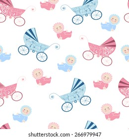 Seamless pattern with baby.