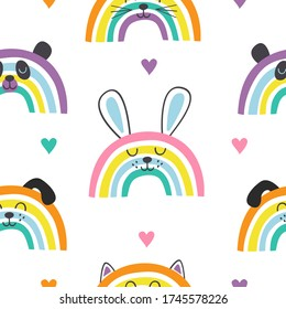 seamless pattern with baby animals rainbows  -  vector illustration, eps
