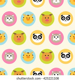 Seamless pattern. Baby background with cuter round animals - raccoon, giraffe, reindeer and panda - in colorful circles. Paper for scrapbook or background.