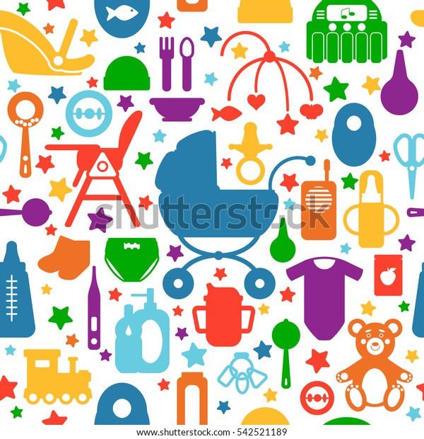 Seamless Pattern Baby Care Supplies Silhouettes Stock Vector Royalty Free 542521189