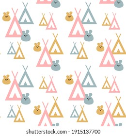 Seamless pattern for baby fabrics, packaging, wallpapers, backgrounds. Bright wigwam pattern. Tribal indian wigwam pattern. Doodle childish minimalist background