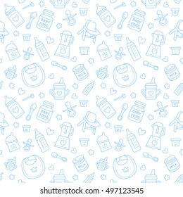 Seamless pattern baby food, pastel color, vector illustration. Infant feeding thin line icons. Cute repeated blue texture for packaging, fabric. Birthday invitation design
