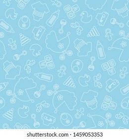 Seamless Pattern Baby Icons Boy Outline Blue And White
