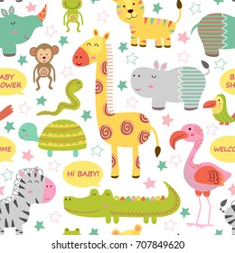 seamless pattern with baby jungle animals on white background  - vector illustration, eps