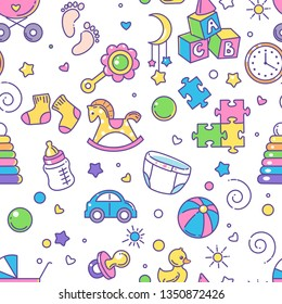 Seamless pattern. Baby objects. Endless background with baby stuff. Background for web site, blog, package. Toys, clothes, icons, symbols of childhood and maternity. Vector illustration.
