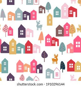 Seamless pattern for baby products. Bright multi-colored elements, houses, trees, deer! Cartoon design, flat illustration.