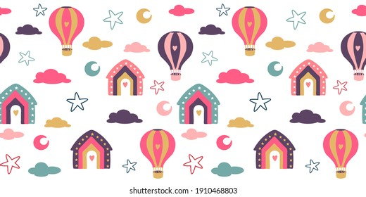 Seamless pattern for baby products. Bright colorful elements, houses, balloons, stars and clouds! Cartoon design, flat illustration.