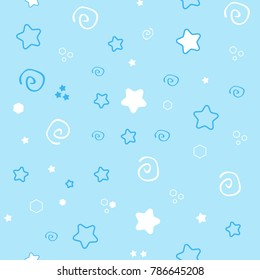 Seamless pattern baby set on blue background.