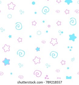 Seamless pattern baby set on pink background. cute illustration of a delicate, Princess soft color.