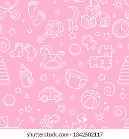 Seamless pattern. Baby theme. Endless background with baby stuff. Background for web site, blog, package. Toys, clothes, icons, symbols of childhood and maternity. Vector illustration.