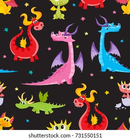 Seamless pattern, backdrop design with funny cartoon dragon characters, vector illustration on black background. Funny comic, cartoon style dragon characters, seamless pattern on black background