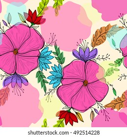 Seamless pattern background with abstract doodle flowers. Boho style