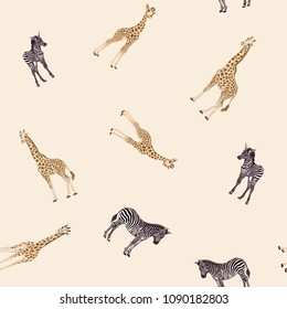 Seamless pattern, background  with adult zebra and giraffe  and zebra and giraffe cubs.  Realistic drawing, animalism. Vector illustration.  On soft yellow background.