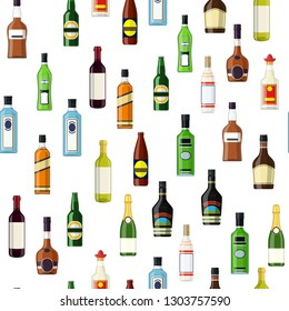 Seamless pattern Background with alcohol bottles. Vodka champagne wine whiskey beer brandy tequila cognac liquor vermouth gin rum absinthe bourbon. Vector illustration in flat style