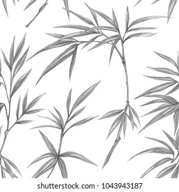 Seamless pattern, background with bamboo and tropical plants.  Hand drawn monochrome vector illustration without transparent and gradients.