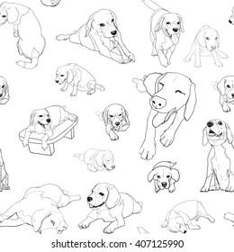Seamless pattern background of beagle set on white background