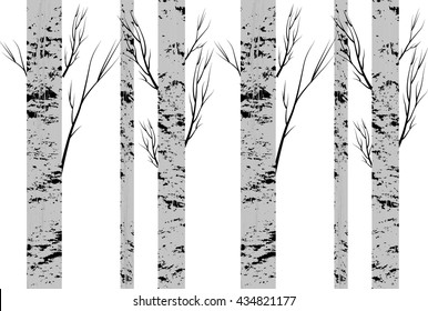 Seamless pattern, background with birch  trees .textile, fabrics or wallpapers