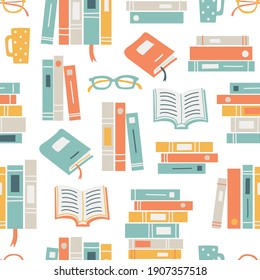Seamless pattern background with books, glasses and mugs. Reading themed hand drawn vector illustration.