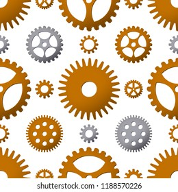 Seamless pattern background with bronze and metallic gears. Vector illustration. Steampunk design.