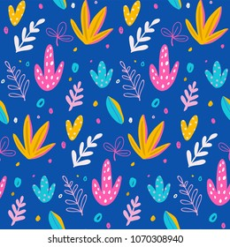 Seamless pattern and background, cacti, palm leavs, jungle flowers