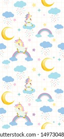 The seamless pattern background of character of cute rainbow unicorn sitting on the rainbow in the white background with blue cloud and star. The character of cute rainbow unicorn in vector style.